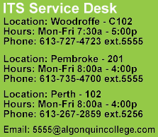 ITS Service Desk Fall and Winter Hours