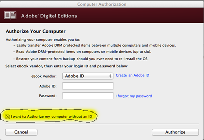 Print Screen of Digital Editions Registration Screen
