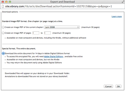 Print Screen of the Ebrary Download Intructions