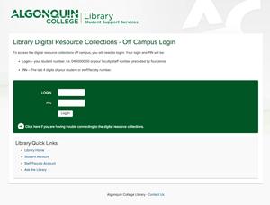 Library Remote Access Screen