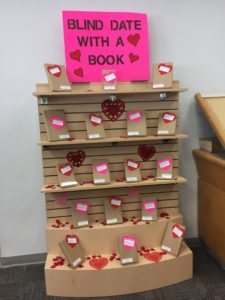 Our display of books that are wrapped up in brown paper for 'blind dates'.