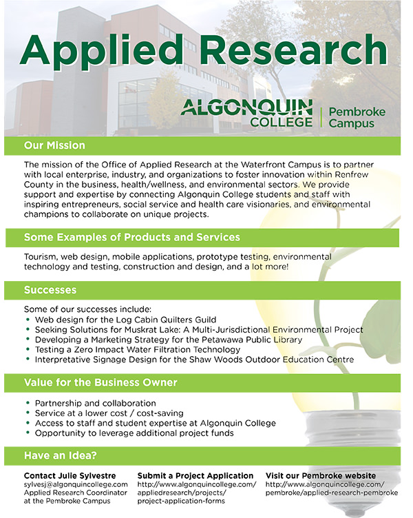 A poster outlining the mission, services and contact information for the Waterfront Campus Applied Research Office