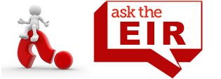 A little character sitting on top of the red question mark with a dialogue bubble beside that says Ask the EIR