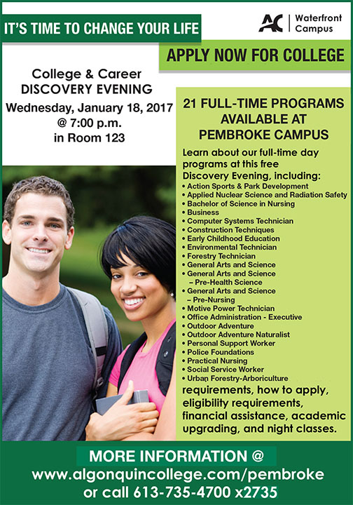 Discovery Evening Information Session, Algonquin College, Pembroke Campus