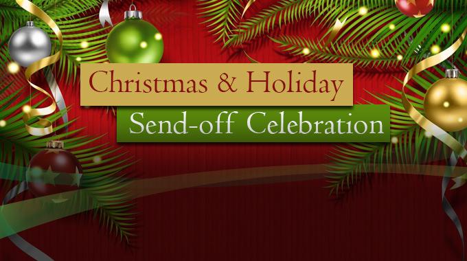 Garland, christmas ornaments and ribbon