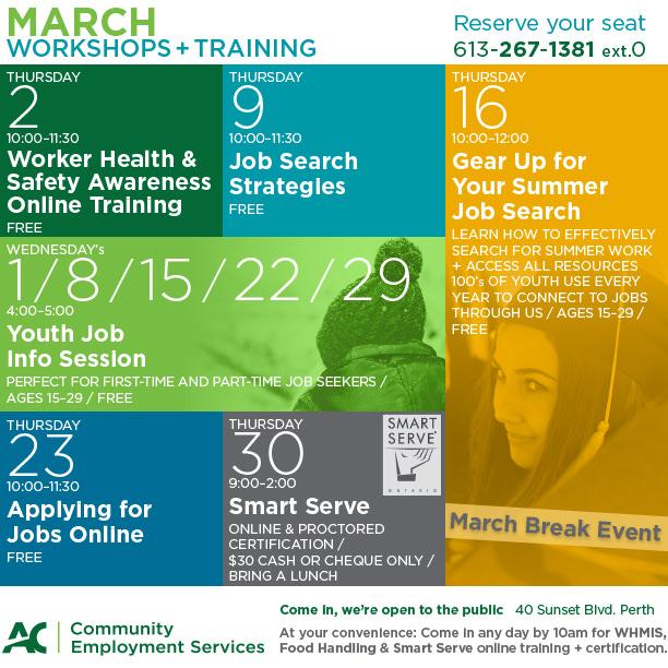 CES Workshop Calendar: March 2017 | Community Employment Services