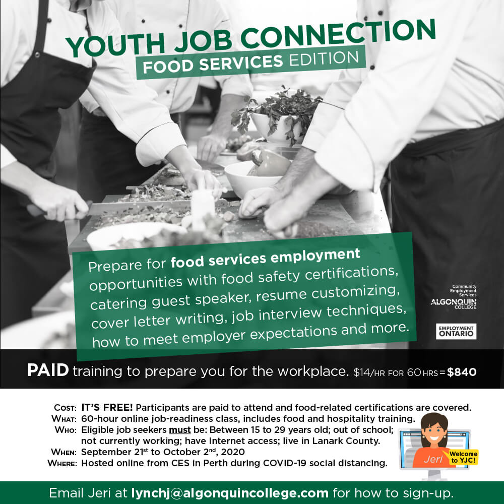 Youth Job Connection Food Services Edition Community Employment Services