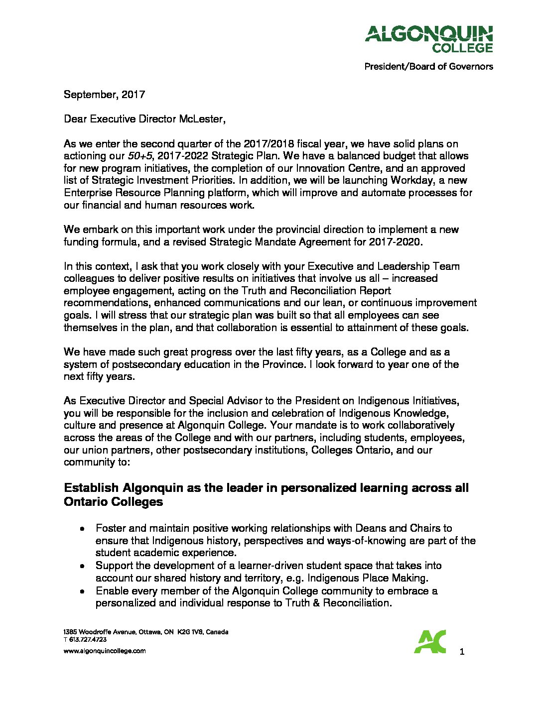 Mandate Letter 2017 – Student Services – Indigenous | Office of the