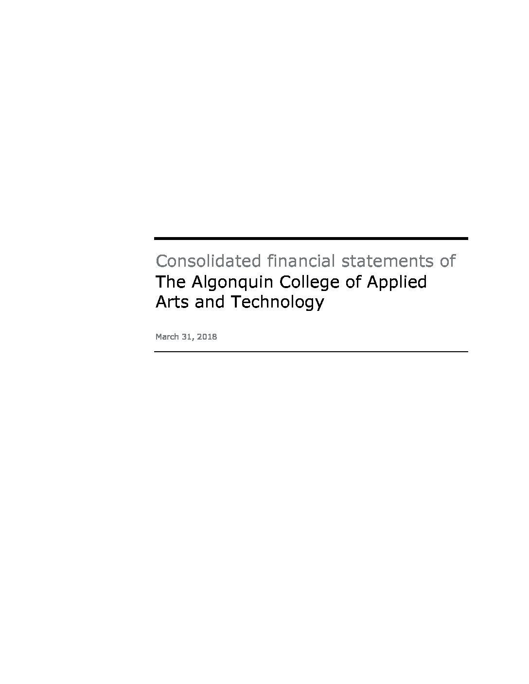 Algonquin College Audited Financial Statements March 31 2018 Corporate Reports