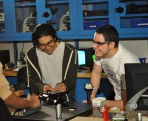 Photonics students in photonics lab at Algonquin College