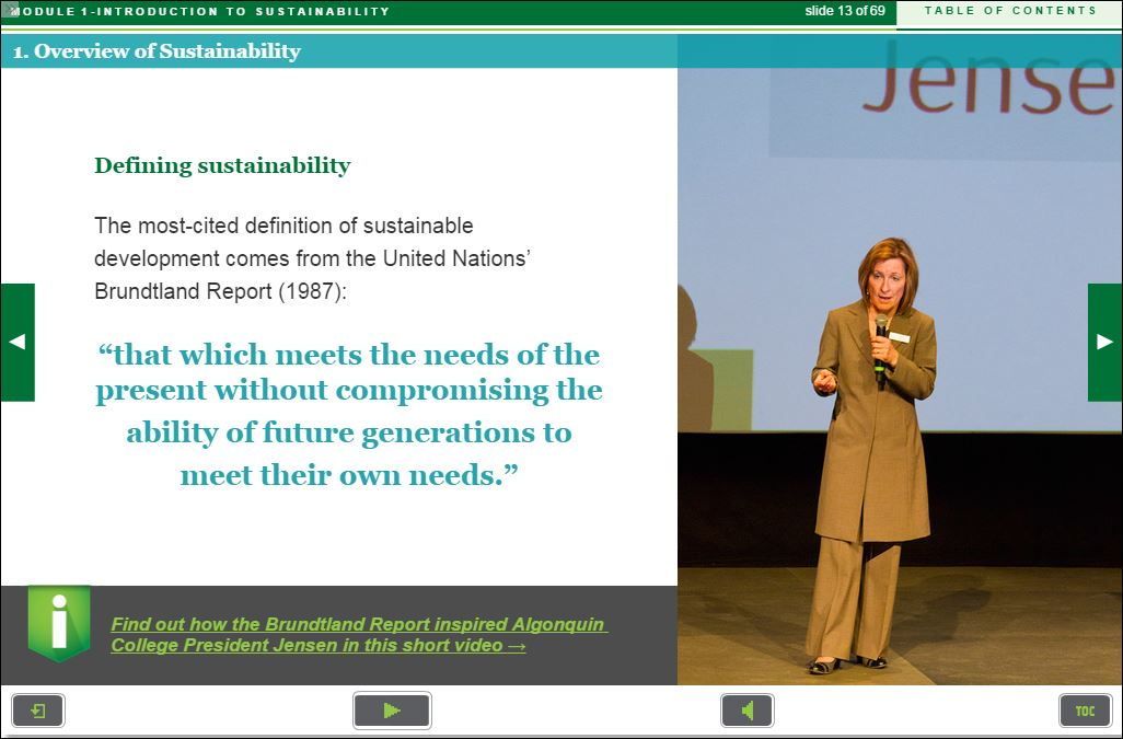 screen capture online learning President Jensen | Sustainability